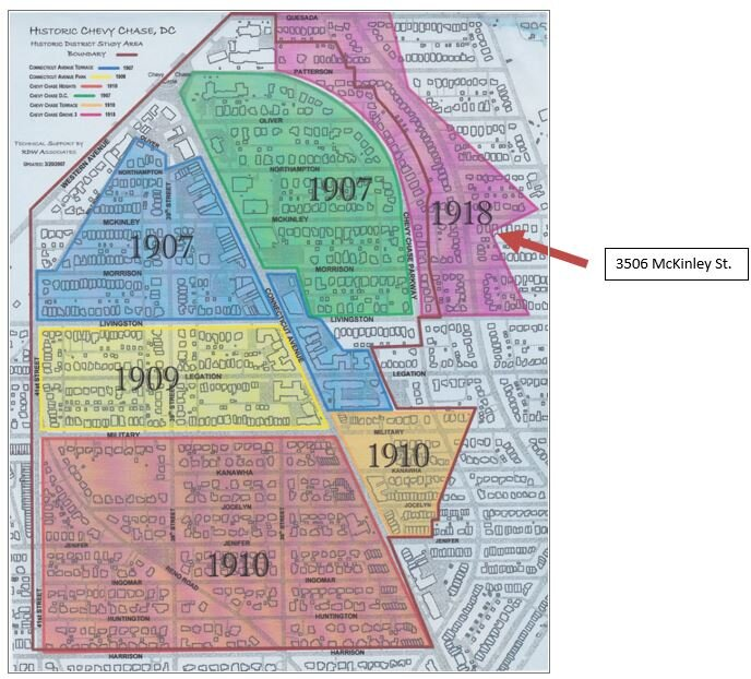 Historic Chevy Chase DC map showing growth by year