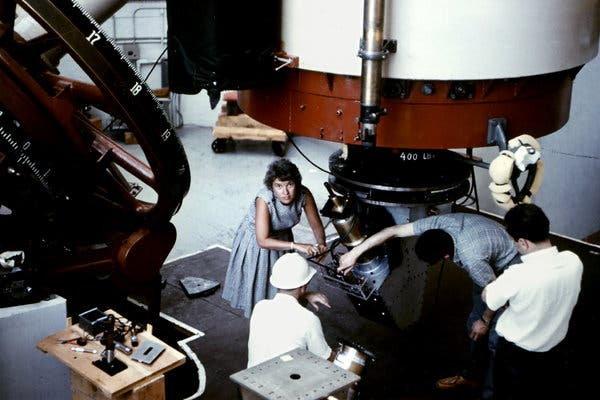 A Carnegie Institution photo of Astronomer Vera Rubin at the Lowell Observatory in Flagstaff, Arizona, in 1965