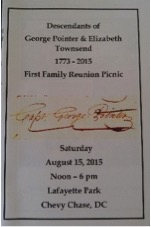 Booklet from the First Family Reunion Picnic of the descendants of George Pointer and Elizabeth Townsend