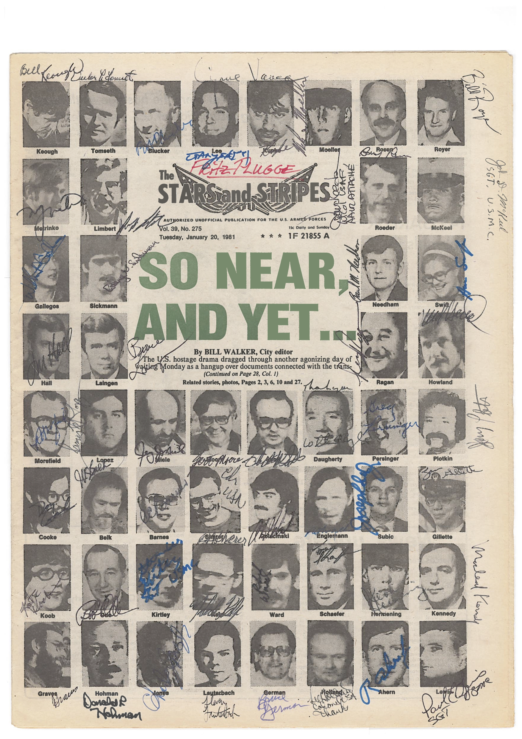 Fritz Plugge's copy of the front page of Stars & Stripes, signed by 52 hostages