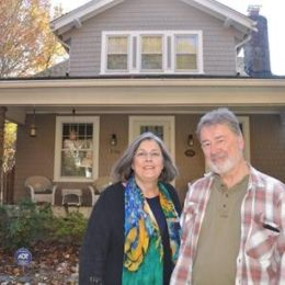 Carl and Pam Lankowski in front of McKinley Street NW House Chevy Chase DC