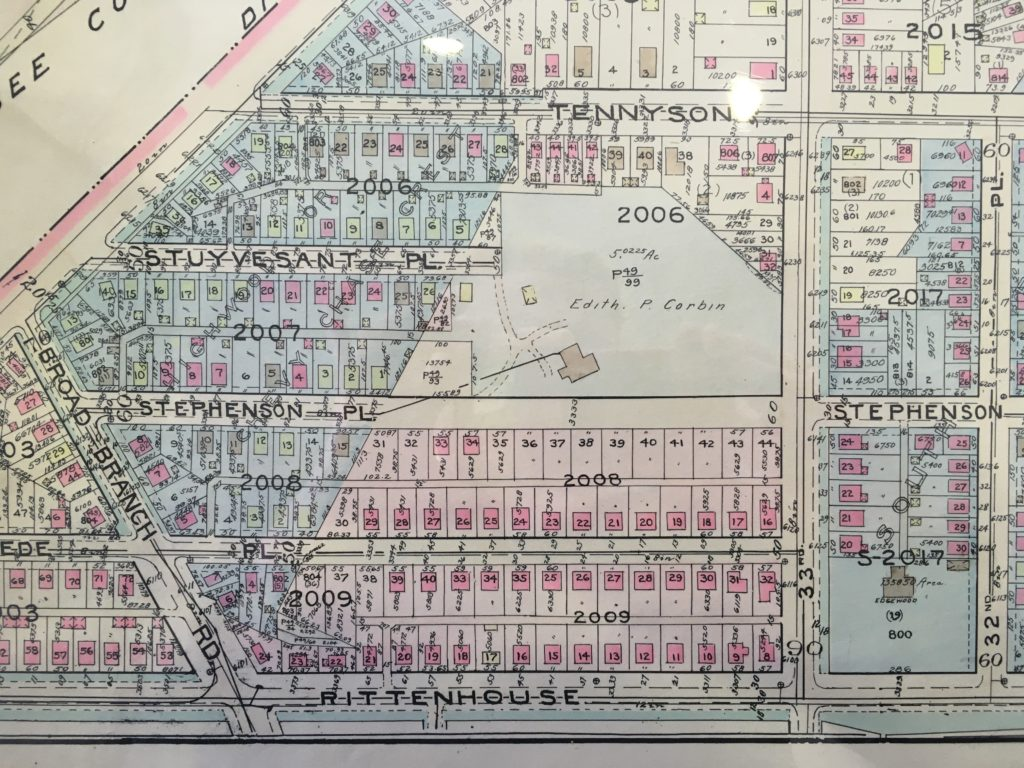 Mid-1930s Baist map showing the new Mikkelson development (in pink). Highwood is now officially on Stephenson Place in the center of the map.