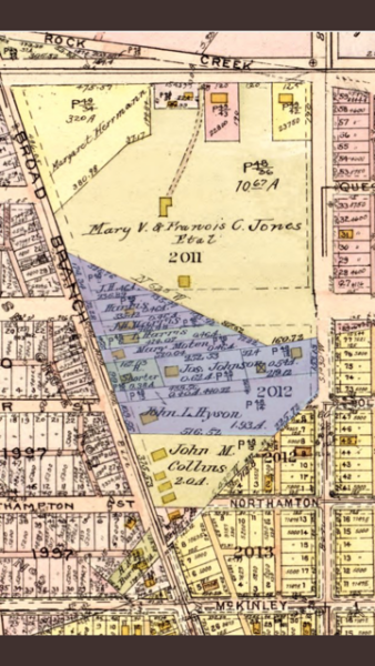 1919 Baist's Map African American Community on Broad Branch Road