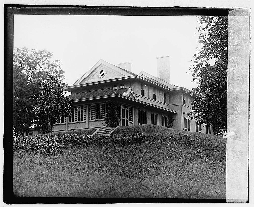 Library of Congress photo of Highwood, looking at the east wing and back of the house. Between 1918 and 1920.