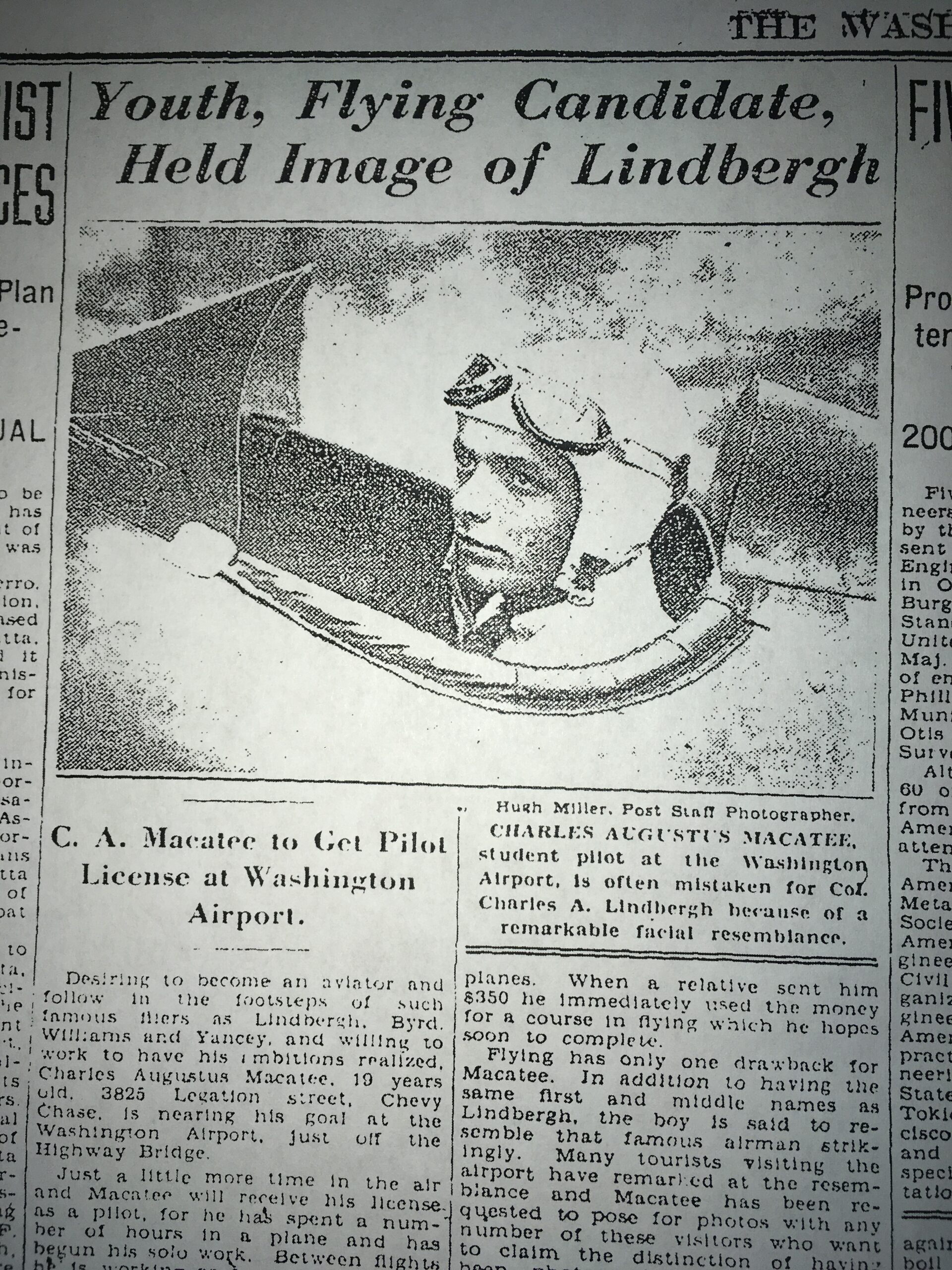 The Washington Post, Aug. 11, 1929, about Charles Macatee's ambition to become a pilot like Charles Lindberg.