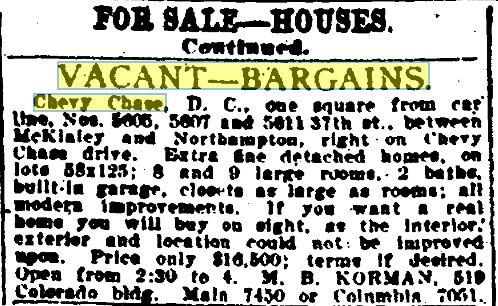 Evening Star Classified Ad Jan 1921