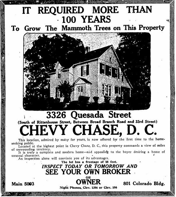 Jones Farm for sale ad in the Evening Star, Nov. 22, 1924