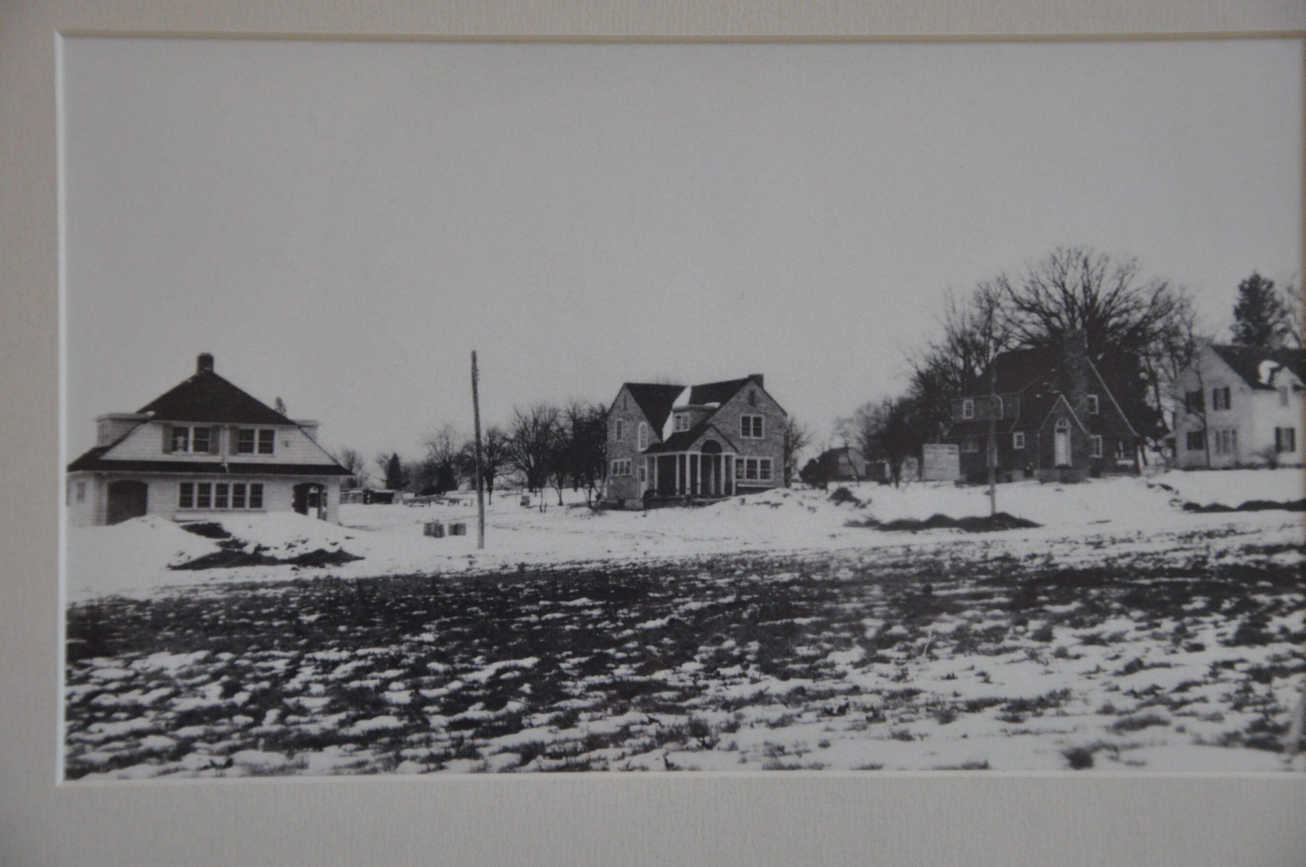Jones farmhouse and three new houses on Quesada Street around 1926